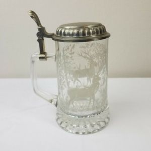 ALWE Other - ALWE Vintage Glass Beer Stein Pewter Etched Italy